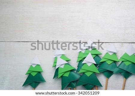 Handmade Origami Paper Craft Christmas Tree Stock Photo 342051209