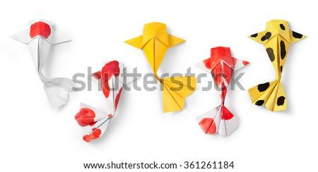 handmade paper craft origami koi carp fish on white background. - stock photo