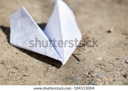 handmade paper plane - stock photo