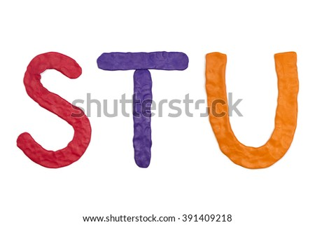 Handmade plasticine letters, STU - stock photo