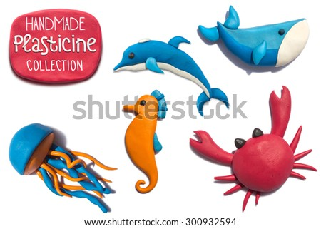 Handmade plasticine summer sea life animals collection. Sea life animals all objects handmade of plasticine, big resolution. - stock photo