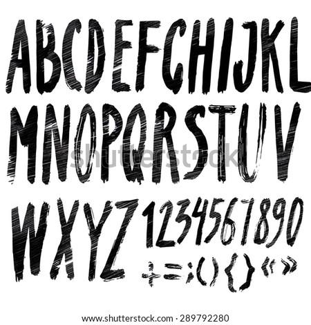 Handmade Roman alphabet - drawn by ink and brush - stock photo