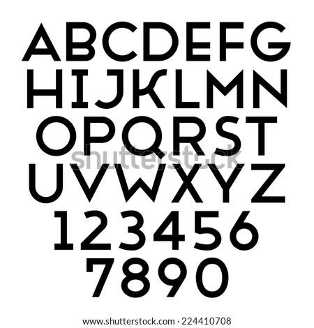 Handmade sans-serif font. Bold type. - stock photo