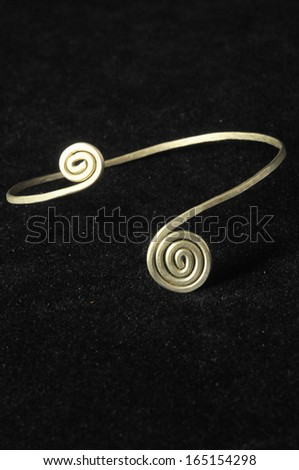 Handmade Silver Jewelry on a Black Background - stock photo