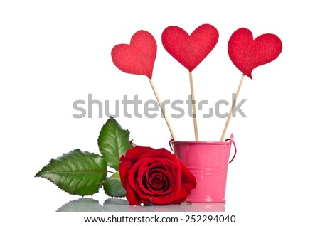 handmade skewers with cloth hearts and beauty red rose for celebration  on white background - stock photo