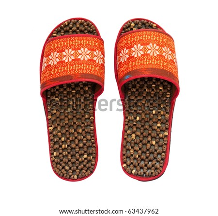 Handmade Slippers on white background