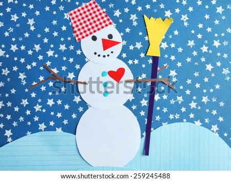 Handmade snowman on bright background