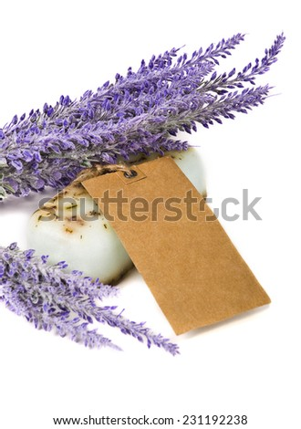 Handmade soap and lavender flowers  - stock photo