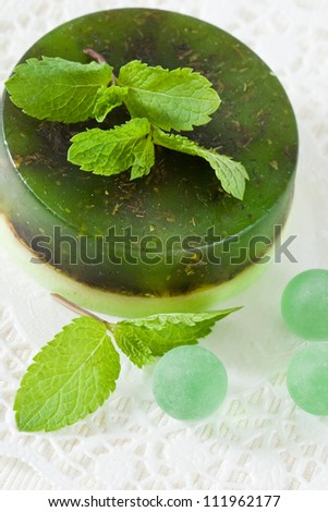 Handmade soap and mint leaves
