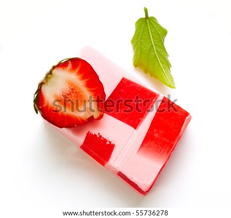 Handmade soap isolated on white - stock photo