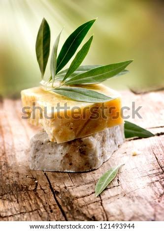Handmade Soap.  Olive Spa - stock photo