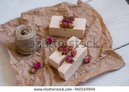 handmade soap on a old wooden background