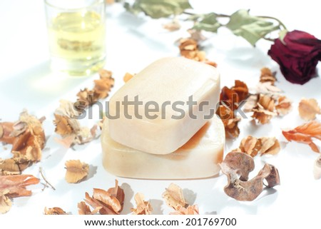 Handmade soap on white background. It made up by natural herb - stock photo