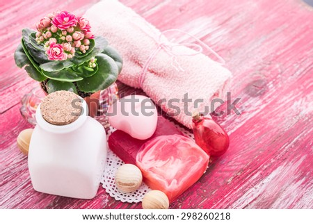 handmade soap on wooden - stock photo