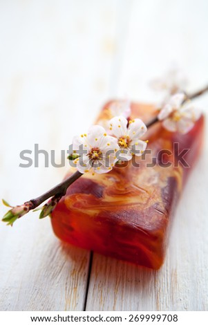 handmade soap with apricot flowers - stock photo