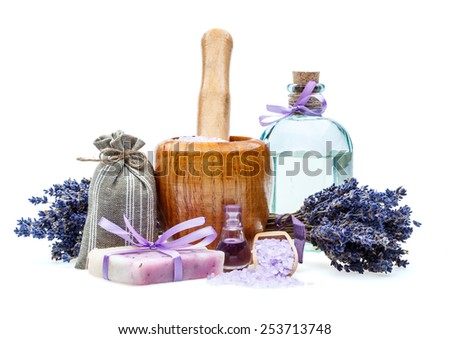 Handmade soap with lavender and sea salt isolated on white  - stock photo