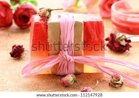 handmade soap with the scent of roses - stock photo
