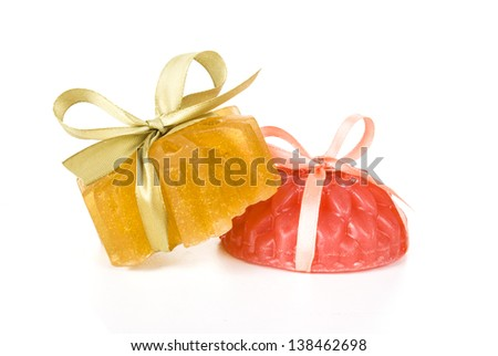 handmade soaps isolated on white background - stock photo
