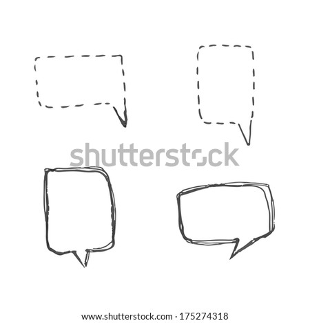 handmade speech bubbles. set of four design elements - stock photo