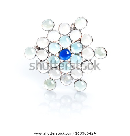 Handmade stained glass snowflake isolated on white background - stock photo