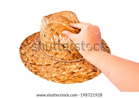 Handmade Straw Hat, Hand Holding (Select Show Pick Choose) Isolated on white background. - stock photo
