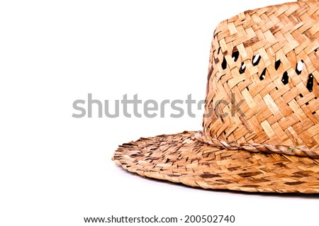 Handmade Straw Hat Isolated on white background. - stock photo