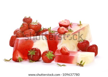 Handmade strawberry Soap closeup.Spa products - stock photo
