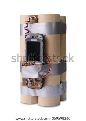 Handmade terrorist bomb - stock photo