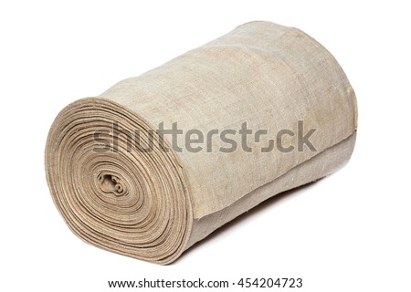 Handmade textile in roll isolated on white background