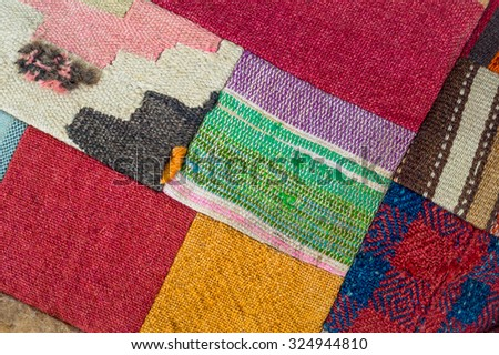 Handmade turkish carpet -colored rug at vintage style. Turkish mat with geometric pattern. Tradition Turkey home rugs - oriental craft and decor of ethnic interior. - stock photo