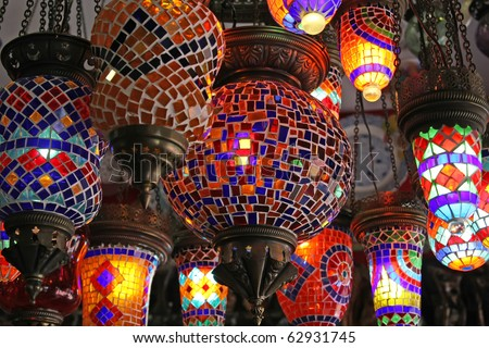handmade turkish lanterns for sale - stock photo
