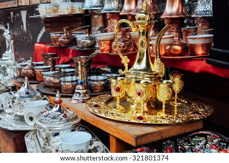 Handmade Turkish tea sets at istanbul market