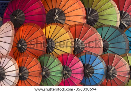 Handmade Umbrella at walking street market, Luang Prabang, Laos
