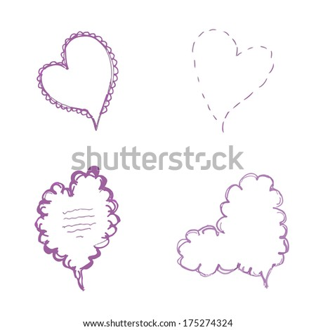 handmade Valentine speech bubbles. set of four design elements