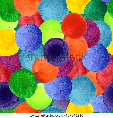 Handmade watercolor texture colorful paint drops color wheel. Isolated watercolor rainbow spectrum spot. - stock photo