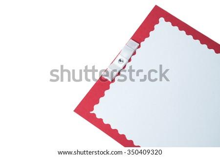 handmade wedding card on a white background. isolated. - stock photo