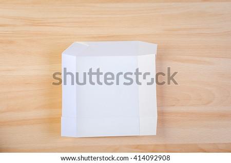 handmade white paper box. Craft and scrapbook - stock photo