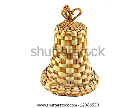 Handmade wicker straw bell isolated on white - stock photo