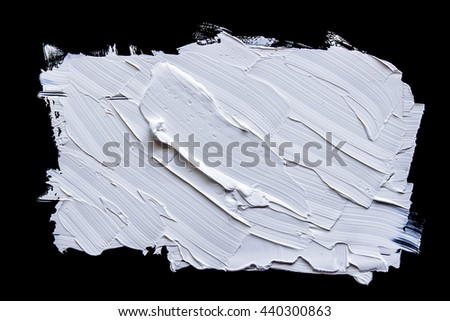 Handmade withe oil paint brush strokes isolated over the black background