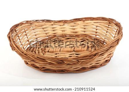 handmade wooden basket isolated on white background. - stock photo