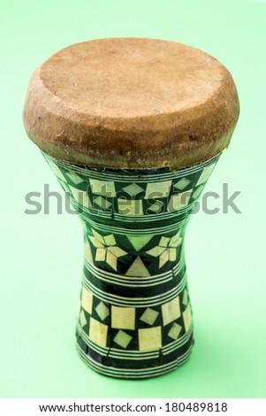 Handmade wooden drum, Egypt - stock photo