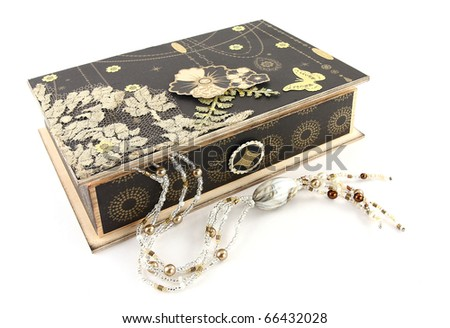 Handmade wooden gift box with beads
