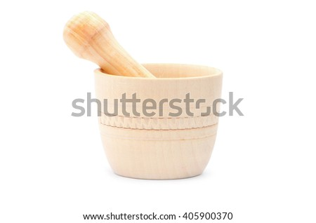 Handmade wooden mortar isolated on white - stock photo
