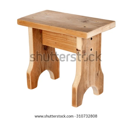 Handmade wooden stool isolated on white background