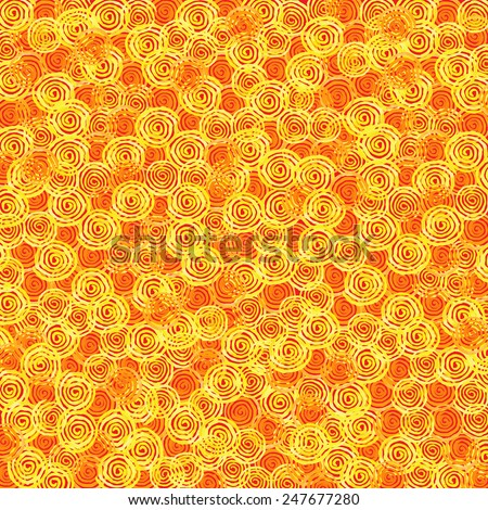 Handpaint watercolor vector background. Bright spirals of yellow and orange colors. Texture for invitations, cards, web sites, design.