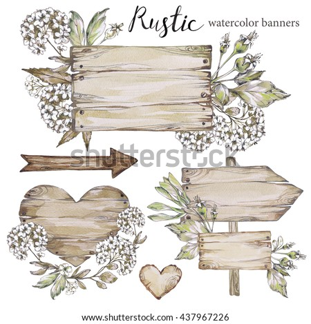 Handpainted Collection Watercolor Wood Planks Clipart Pointer Boardwooden Heart Rustic