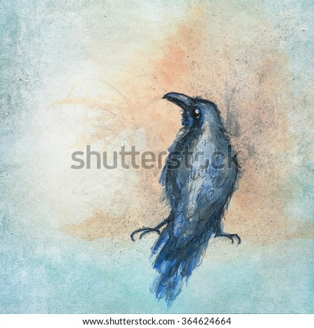 handpainted raven sitting on an aqua color background - stock photo