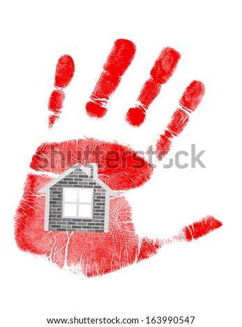 handprint and house in the middle. illustration design over white