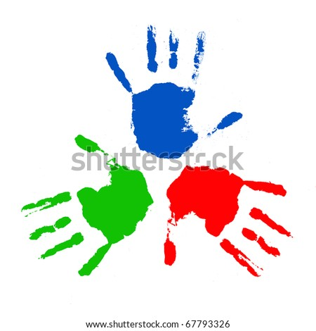 Handprints in different colors on a white background in different positions.