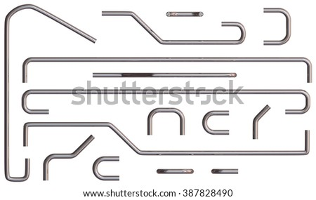 Handrail pipes isolated on white - stock photo